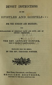 Cover of: Devout instructions on the Epistles and Gospels for the Sundays and holydays