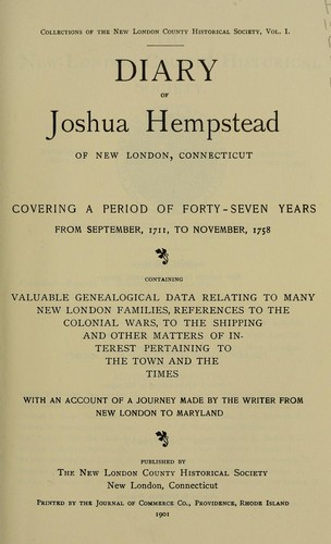 Diary of Joshua Hempstead of New London, Connecticut by Joshua Hempstead