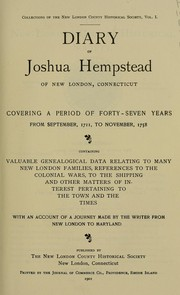 Cover of: Diary of Joshua Hempstead of New London, Connecticut by Joshua Hempstead
