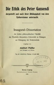Cover of: Die Ethik des Peter Gassendi | Adalbert Pfeiffer
