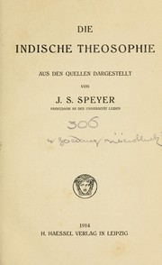 Cover of: Die indische Theosophie