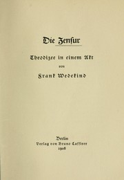Cover of: Die Zensur: Theodizee in einem Akt