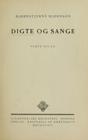 Cover of: Digte og sange