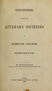 Cover of: Discourse before the literary societies of Hamilton College