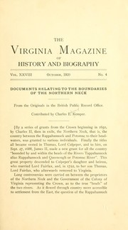 Cover of: Documents relating to the boundaries of the Northern Neck