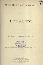 Cover of: Duty and reward of loyalty
