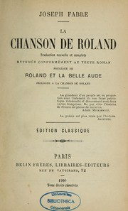 Cover of: La Chanson de Roland | Joseph Fabre