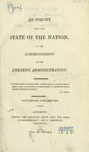 Cover of: An inquiry into the state of the nation, at the commencement of the present administration