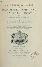 Cover of: An elementary manual of radiotelegraphy and radiotelephony for students and operators