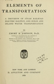 Cover of: Elements of transportation