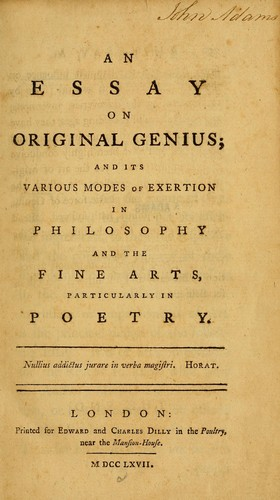 william duff an essay on original genius More on genius about mrs lazarus  the title 'mrs lazarus' implies that the speaker is only known through her association with lazarus  includes a highly original re.