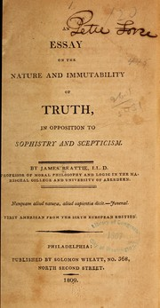 Cover of: An essay on the nature and immutability of truth