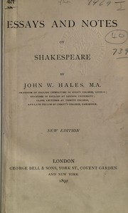 Cover of: Essays and notes on Shakespeare