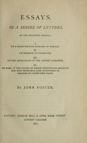 Cover of: Essays, in a series of letters, on the following subjects
