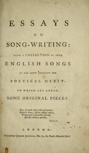 Essays On Songwriting  Edition  Open Library Essays On Songwriting By John Aikin
