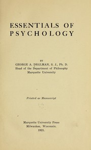 Cover of: Essentials of psychology