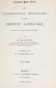 Cover of: An etymological dictionary of the French language | Brachet, Auguste
