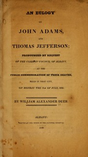 Cover of: An eulogy on John Adams, and Thomas Jefferson