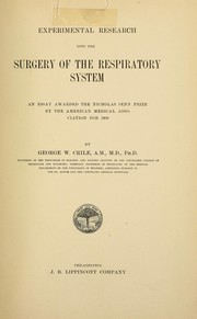 Cover of: Experimental research into the surgery of the respiratory system