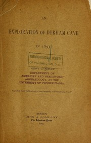 Cover of: An exploration of Durham Cave in 1893