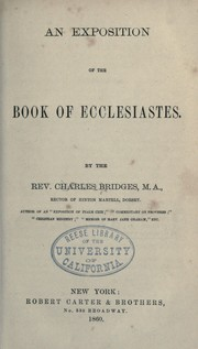 Cover of: An exposition of the Book of Ecclesiastes by Charles Bridges