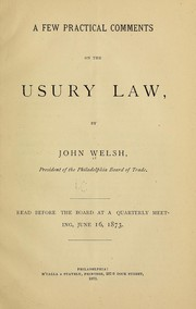 Cover of: A few practical comments on the usury law
