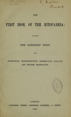 The first book of the Hitopadeśa by F. Max Müller