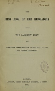 Cover of: The first book of the Hitopadeśa