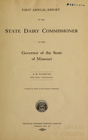 Cover of: First[-second] annual report | Missouri. Dairy dept
