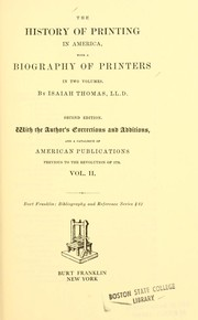 Cover of: The history of printing in America |