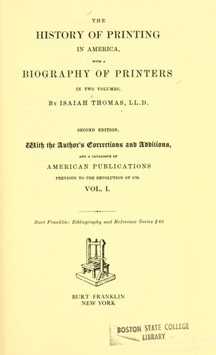 The history of printing in America by