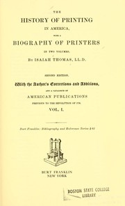 Cover of: The history of printing in America by