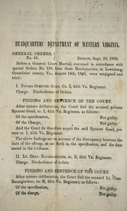 General orders, no. 43 by Confederate States of America. Army. Dept. of Western Virginia