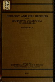 Cover of: Geology and ore deposits of the Randsburg quadrangle, California