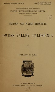Cover of: Geology and water resources of Owens valley, California