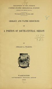Cover of: Geology and water resources of a portion of south-central Oregon