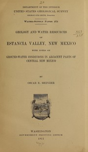 Cover of: Geology and water resources of Estancia Valley, New Mexico
