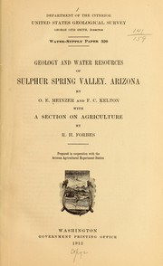 Cover of: Geology and water resources of Sulphur Spring Valley, Arizona