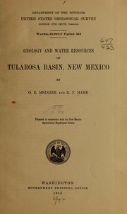 Cover of: --Geology and water resources of Tularosa basin, New Mexico