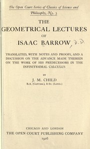Cover of: The geometrical lectures of Isaac Barrow | Isaac Barrow