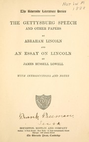 Cover of: The Gettysburg speech and other papers