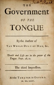 Cover of: The government of the tongue
