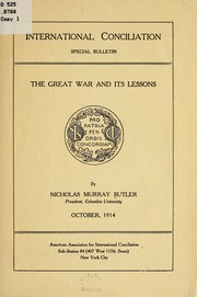Cover of: The great war and its lessons