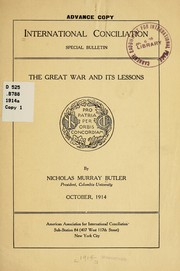 Cover of: The great war and its lessons...