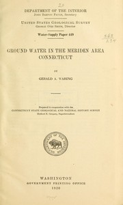 Cover of: Ground water in the Meriden area, Connecticut