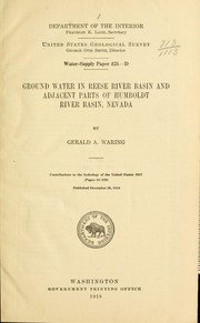 Cover of: Ground water in Reese river basin and adjacent parts of Humboldt river basin, Nevada