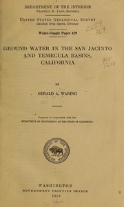 Cover of: Ground water in the San Jacinto and Temecula basins, California