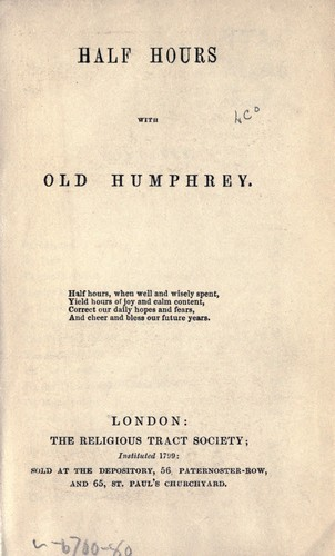 Half hours with Old Humphrey by Old Humphrey