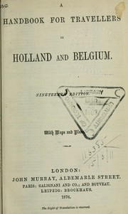 Cover of: Handbook for travellers in Holland and Belgium by