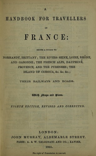A handbook for travellers in France by John Murray (Firm)